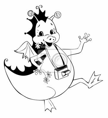 Nette illustration eines glücklichen drachen mit kamera. schwarz ...