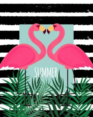 Bild Nette rosa Flamingo-Sommer-Hintergrund-Vektor-Illustration