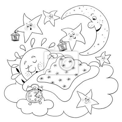 Nette Schlafende Sonne Mond Und Sterne Malvorlage Lustige
