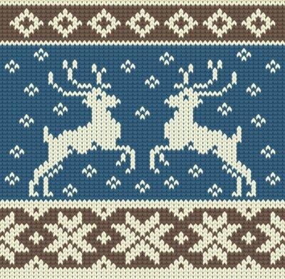 Bild Nette Stricken Hintergrund mit zwei Rentiere und Schneeflocken