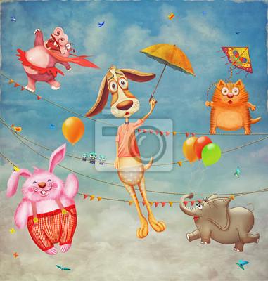 Nette Tiere fliegen in den Himmel. Illustration Kunst