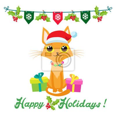 Frohe Weihnachten Katze.Bild Nette Weihnachtsvektorkarte Mit Text Frohe Feiertage Nette Katze