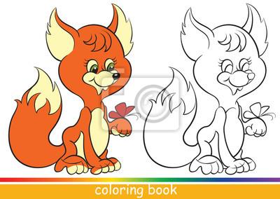 Netter Junger Fuchs Malbuch Oder Ausmalbilder Für Kinder Mit