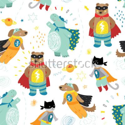 Bild Nettes Hand gezeichnetes Kindersuperheld-nahtloses Muster mit Hund, Katze, Bären und Flusspferd