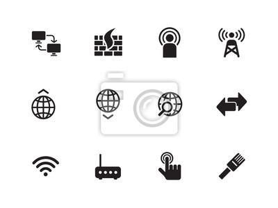 Networking-Symbole auf weißem Hintergrund.