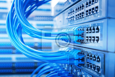 Bild Netzwerk-Switch und Ethernet-Kabel, Data Center Concept.