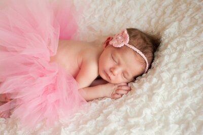 Bild Neugeborenes Baby-Mädchen trägt eine rosa Tutu