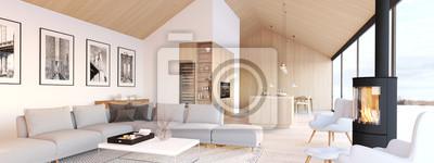 Bild new modern scandinavian loft apartment. 3d rendering