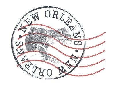 Bild New Orleans, LA, USA Stamp Map Postal. Silhouette Seal Roads and Streets. Passport Round Design. Vector Icon. Design Retro Travel National Symbol.