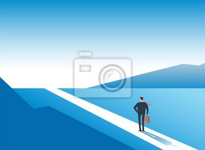 Bild New way concept. Beginning journey adventures and opportunities. Businessman on road outdoor. Business vector background. Businessman and new opportunity, future success illustration