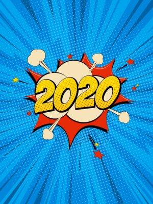 Bild New Year 2020 pop art comic background lightning blast halftone dots.
