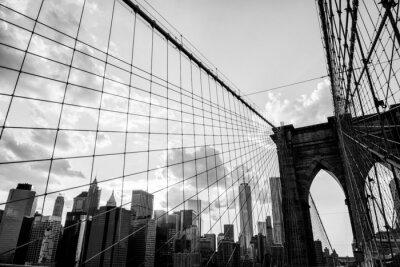 Bild New York City, Brooklyn Bridge Skyline von Schwarz-Weiß-