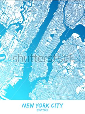 Bild New York City Innenstadt und Umgebung Karte in blau schattierter Version mit vielen Details. Diese Karte von New York City enthält typische Sehenswürdigkeiten mit Platz für zusätzliche Informationen.