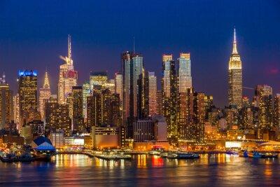 Bild New York City Manhattan Midtown Gebäude Skyline Nacht