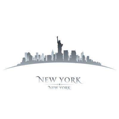 Bild New York city skyline silhouette white background