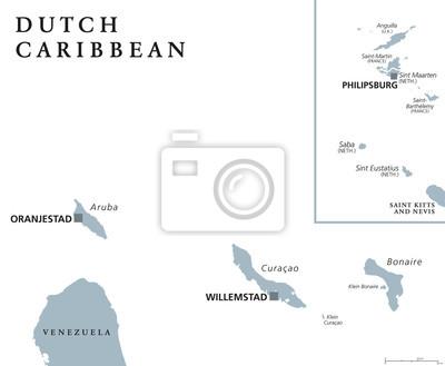 Aruba Karte Karibik.Bild Niederländische Karibik Politische Karte Mit Aruba Curacao