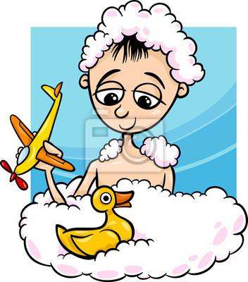 Niedlichen Kleinen Jungen In Der Badewanne Cartoon Leinwandbilder