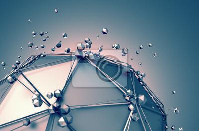 Bild Niedrige Poly-Metall-Kugel mit chaotischen Struktur.