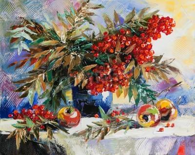 Bild Noch-Lebensdauer mit einer Eberesche und Äpfel