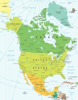 Bild Nordamerika-Karte - sehr detaillierte Vektor-Illustration.
