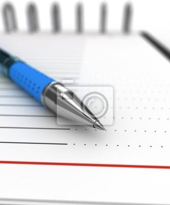 Notizblock und Stift, ausgewählte Schwerpunkte