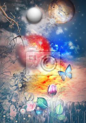Notte stellata e fiabesca con luna piena, stelle, fiocchi di neve, farfalla e campo fiorito