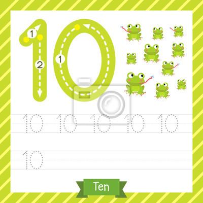 Nummer zehn tracing praxis arbeitsblatt mit 10 frösche für kinder ...