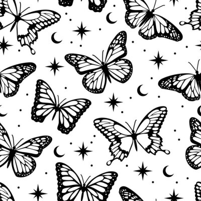 Bild Occult style magical butterfly seamless pattern. Flat vector design background.