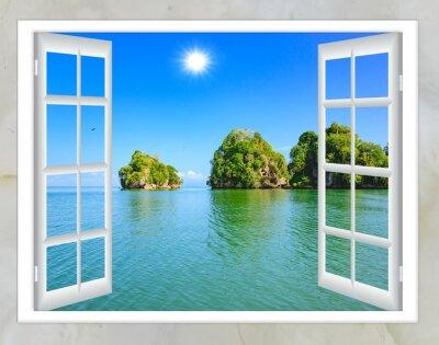 Bild Ocean Blick aus dem Fenster auf der Insel der sonnigen Sommertag