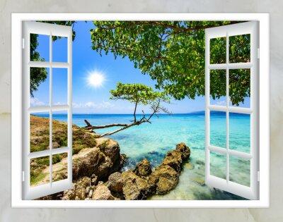 Bild Offene Fenster Blick auf das Meer gute Wetter Sommer
