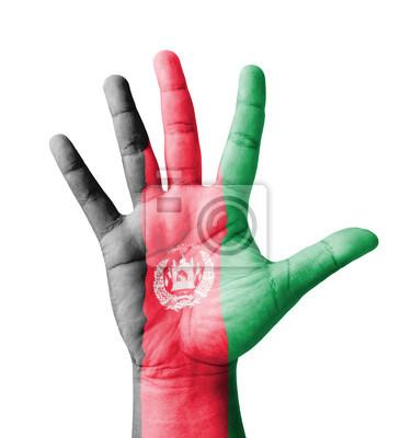 Offene Hand hob, gemalt Afghanistan flag