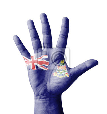 Offene Hand hob, gemalt Cayman Islands flag