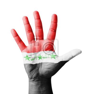 Offene Hand hob, Mehrzweck-Konzept, Irak Flagge gemalt