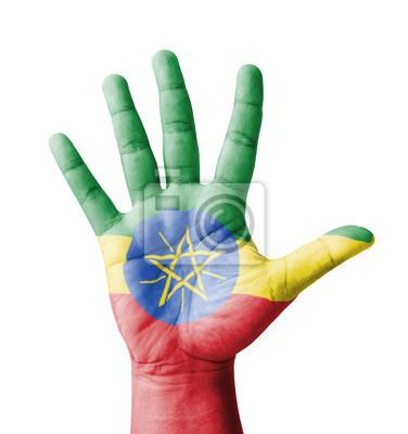 Offene Hand hob, Mehrzweck-Konzept, lackiert Äthiopien-Flagge