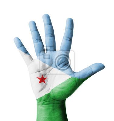 Offene Hand hob, Mehrzweck-Konzept, lackiert Dschibuti Flagge