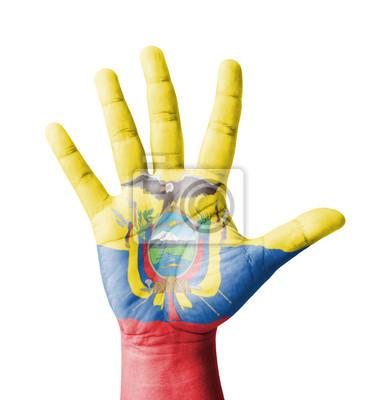 Offene Hand hob, Mehrzweck-Konzept, lackiert Ecuador Flagge