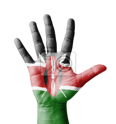 Offene Hand hob, Mehrzweck-Konzept, lackiert Kenia Flagge