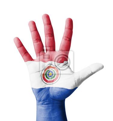 Offene Hand hob, Mehrzweck-Konzept, lackiert Paraguay Flagge