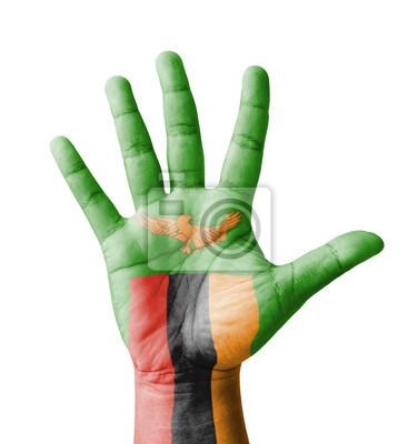 Offene Hand hob, Mehrzweck-Konzept, lackiert Sambia Fahne