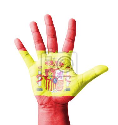 Offene Hand hob, Mehrzweck-Konzept, lackiert Spanien Flagge