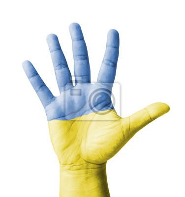 Offene Hand hob, Mehrzweck-Konzept, lackiert Ukraine Flagge