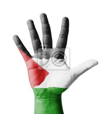 Offene Hand hob, Mehrzweck-Konzept, Palästina Flagge gemalt