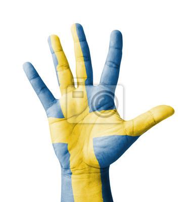 Offene Hand hob, Mehrzweck-Konzept, Schweden Flagge gemalt