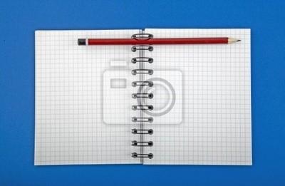 Bild offene leer Spirale Notebook mit Stift isoliert Hintergrund.