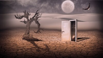 Bild Offene Tür zeigen eine irgendwie halbtransparenten Raumszene in stran