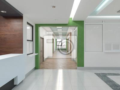 Öffentliches interieur 3d-rendering. leinwandbilder • bilder ...