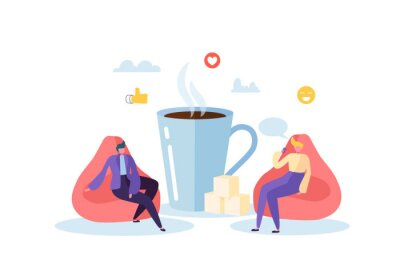 Bild Office Lunch Time. Business People Characters on Coffee Break. Employees Talking, Resting and Drinking Hot Drinks. Vector illustration