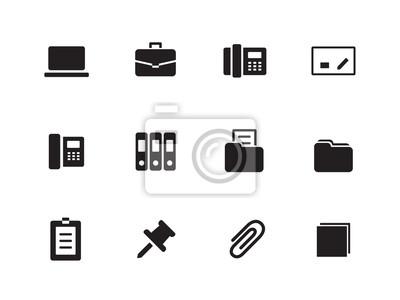 Office-Symbole auf weißem Hintergrund.