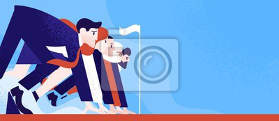 Bild Office workers or clerks standing ready on start line before race or sprint. Business competition or rivalry between employees or colleagues. Colorful vector illustration in flat cartoon style.