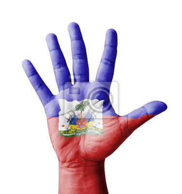 Öffnen Sie die Hand gehoben, Mehrzweck-Konzept, Haiti Flagge gemalt